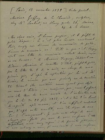 13 novembre 1838, Paris, à Geoffroy Dechaume