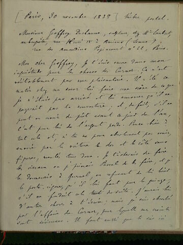 30 novembre 1838, Paris, à Geoffroy Dechaume