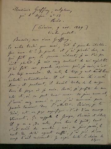 (9 novembre 1849), (Crémieu), à Geoffroy Dechaume