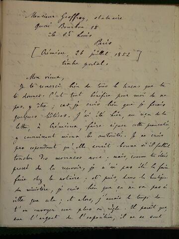 (26 juillet 1852), (Crémieu), à Geoffroy Dechaume