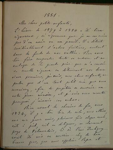 1881, sans lieu, de Geoffroy Dechaume à ses petits enfants