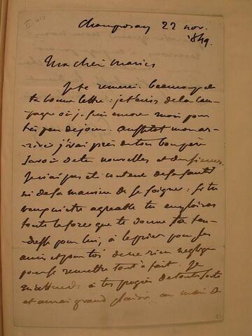 22 novembre 1849, Champrosay, à la fille de Pierret