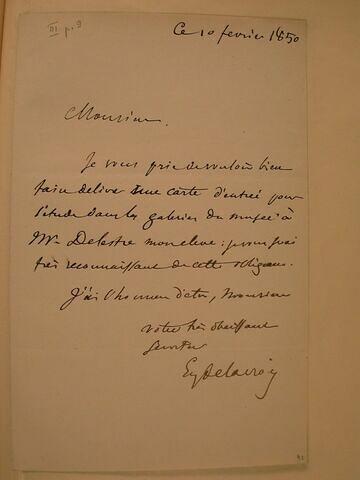 10 février 1850, sans lieu, à X