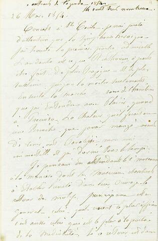 Copie d'extraits de l'agenda de Delacroix, à la date du 26 mars 1854