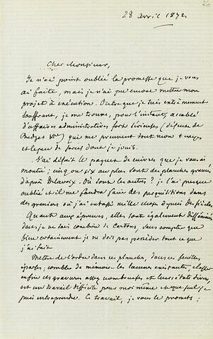 1872-1873, sans lieu, de F. Villot à Adolphe Moreau