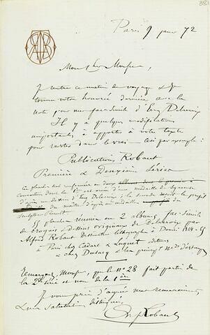 1872, Paris, d'Alfred Robaut à Adolphe Moreau
