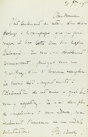 20 septembre 1873, sans lieu, de Ph. Burty à Adolphe Moreau