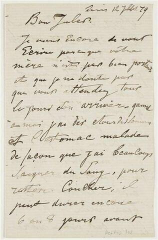 12 juillet 1879, Paris, à Jules Fesser