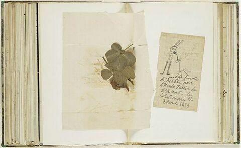 Papier annoté du 24 avril 1882, billet avec dessin du 2 avril 1884