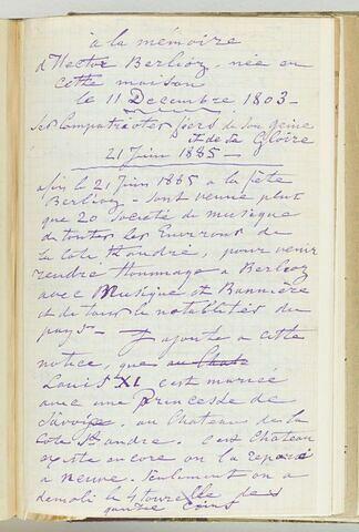 Notes sur H. Berlioz à l'occasion de la pose d'une plaque le 21 juin 1885