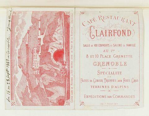 Publicité avec note autographe, 16 au 26 septembre 1883, Grenoble