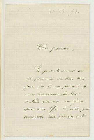 31 déc. 1890, La Côte St-André, de Jeanne Fesser à Jongkind, son parain