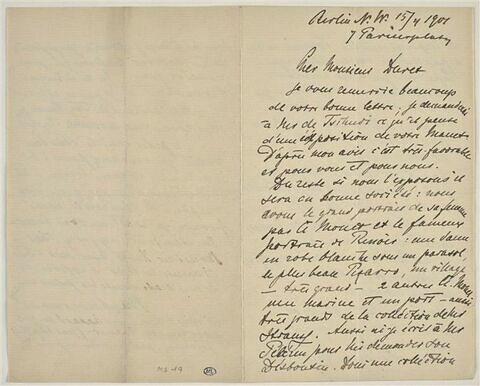 15 avril 1901, Berlin, à Monsieur Théodore Duret