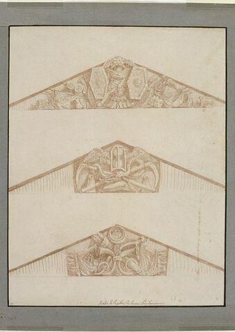 Trois études de frontons triangulaires