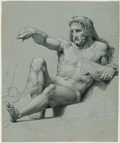 Hercule assis, de trois quarts vers la gauche