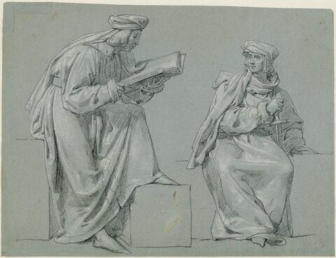 Deux personnages en costume du Moyen âge, l'un lisant, l'autre assis