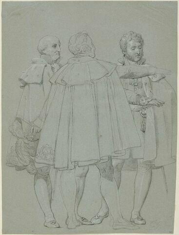 Trois personnages tendant la main