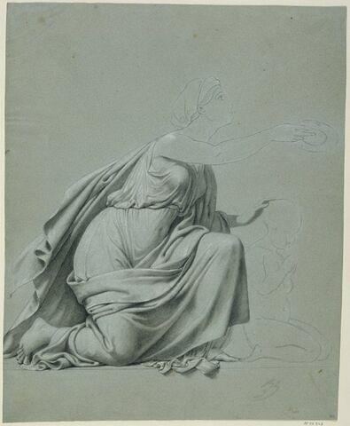 Figure drapée, agenouillée, de profil à droite