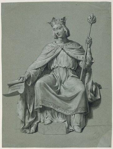 Roi couronné, assis, de face