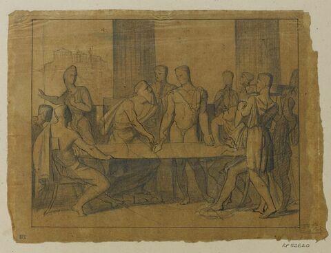 Etude pour la dernière version du tableau Thésée reconnu par son père Egée