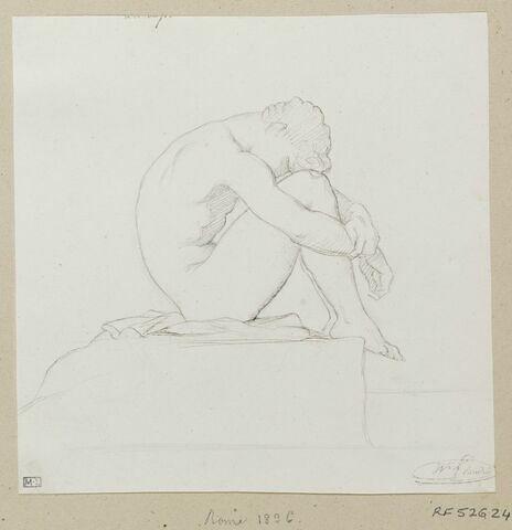 Homme assis, étude pour le tableau Jeune homme nu assis sur un rocher