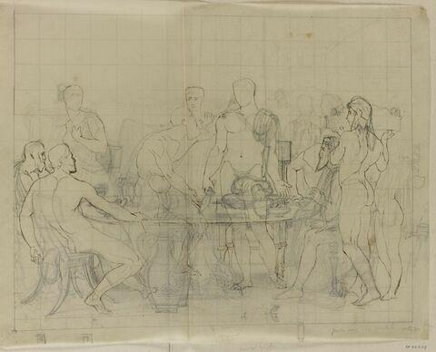 Etude d'ensemble pour le tableau Thésée reconnu par son père Egée
