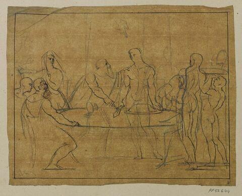 Etude d'ensemble pour le tableau Thésée reconnu par son père