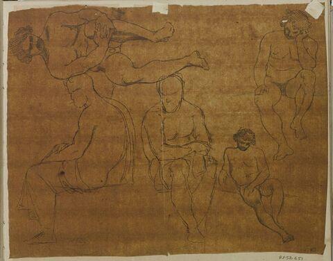 Cinq études d'hommes nus assis