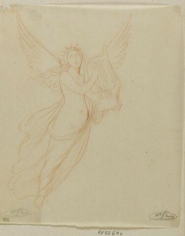 Figure féminine ailée, tenant une lyre