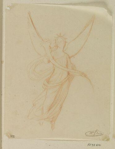 Figure féminine ailée, tenant une corne d'abondance