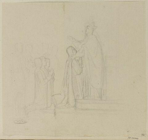 Etude de figures pour le vitrail Saint Louis prenant la Croix,