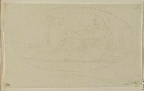Femme assise près brasero, dans un ovale, allégorie de la Vigilance