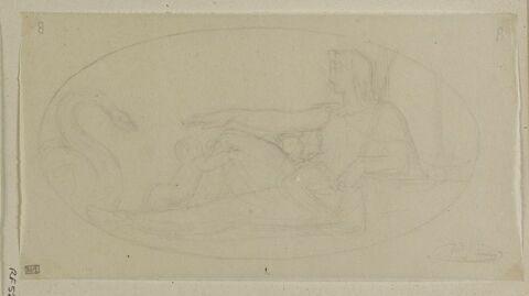 Femme assise tenant une épée, dans un ovale, allégorie de la Justice