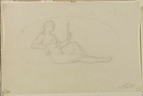 Femme assise tenant un miroir, dans un ovale, allégorie de la Prudence
