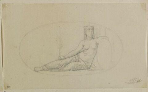Femme assise tenant une branche de chêne, ovale, allégorie de la Force