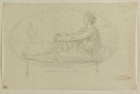 Femme assise, avec un coq, dans un ovale, allégorie de la Vigilance