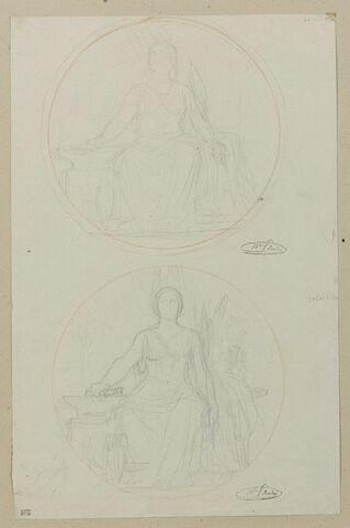 Deux études de femme assise, dans un médaillon, allégorie de l'Industrie