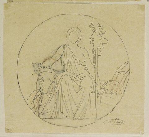 Etude de femme assise, dans un médaillon, allégorie de l'Agriculture