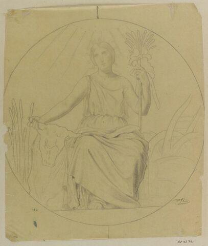 Etudes de femme assise, dans un médaillon, allégorie de l'Agriculture