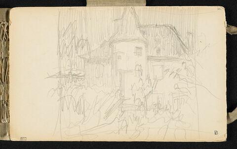 Paysage avec une maison à tourelle