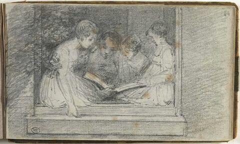 Personnages lisant, dans l'encadrement d'une fenêtre