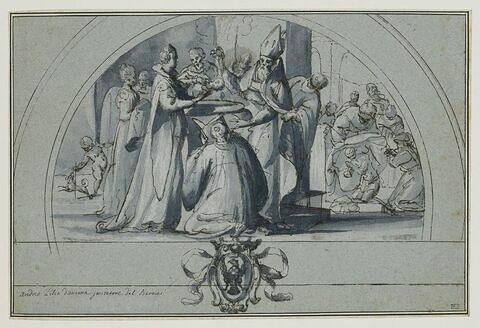 Etude pour une lunette avec les armes des Habsbourg surmontées d'une scène avec le baptême d'un enfant