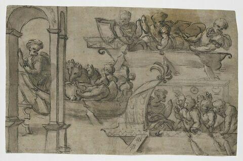 Hommes et chevaux embarqués sur le Danube : copie d'après la colonne Trajane