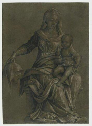 Vierge à l'Enfant sur un trône et figure de sainte de profil à gauche