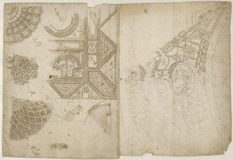 Relevé du décor de la loggia de la villa Madama et de la sala dei Pontefici du palais du Vatcan à Rome