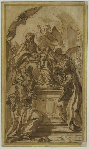 Vierge à l'Enfant entourée d'anges avec saint Charles Borromée et saint Ignace de Loyola