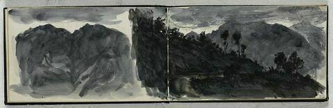Vue de montagnes dans la nuit