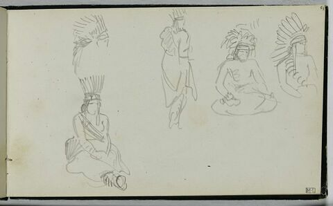 Cinq croquis d'indiens Ojibwas