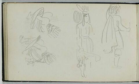 Quatre croquis d'indiens Ojibwas