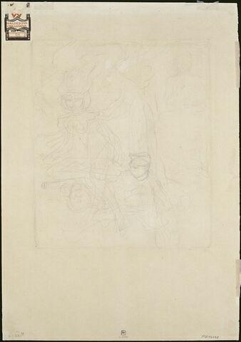 Croquis d'une déesse placée sur un canon, d'un militaire et d'un Bouddha